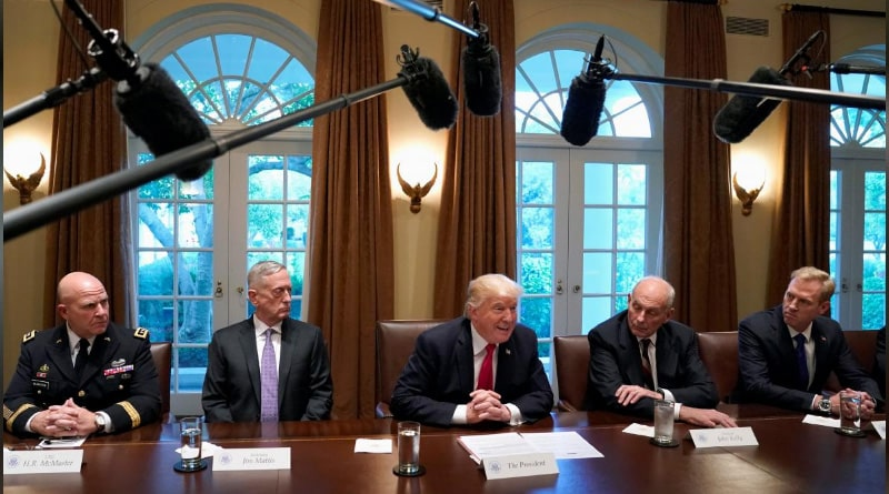 President Donald Trump discussed with US military leaders on Iran and North Korea