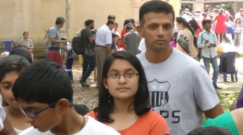 Rahul Dravid was praised by social media users for not having any 'celebrity airs' after a picture of him lining up at a science fair