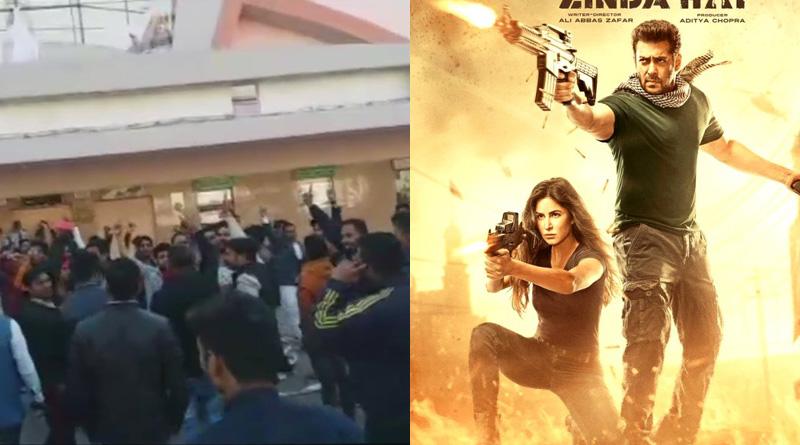 Protesters vandalize Tiger Zinda Hai posters at a cinema hall in Jaipur