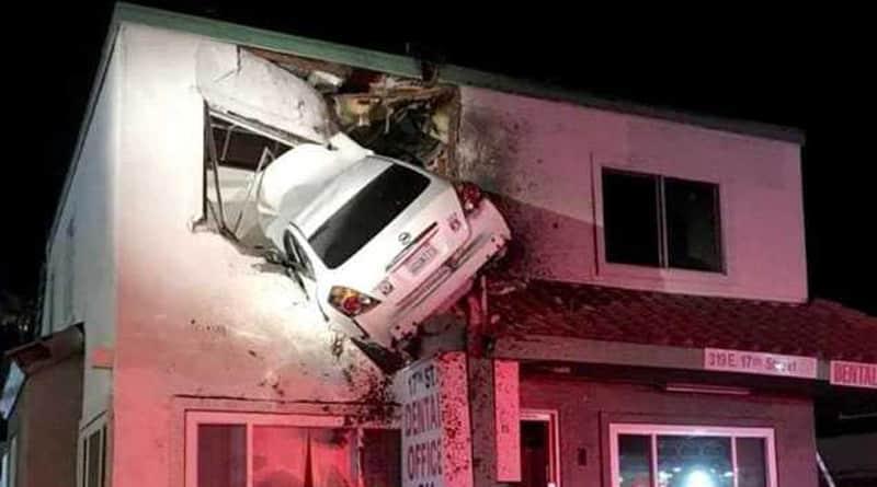 California: Car Flies into Air, Gets Stuck In a building