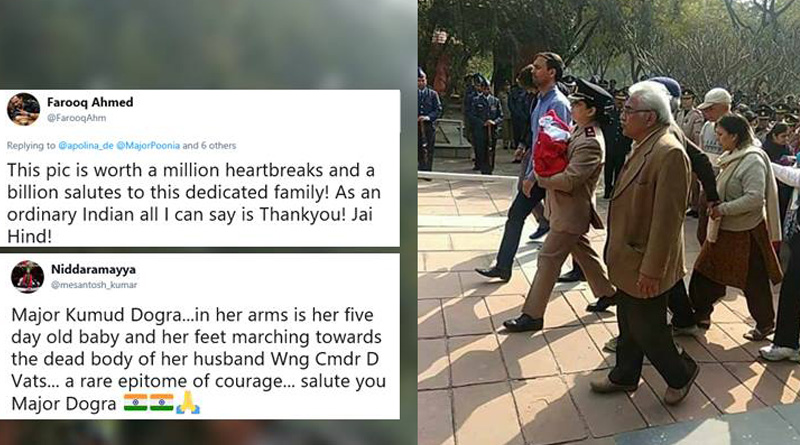 Salutes Army Officer Carrying Her Newborn to Husband's Funeral