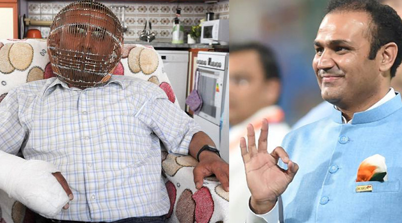 Sehwag tweets the pic of a turkey man who caged his head to quit smoking
