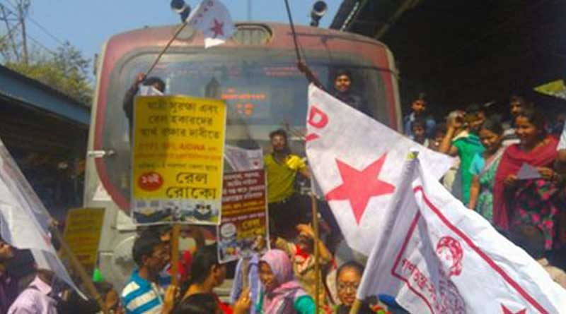 DYFI stages protest at Jadavpur train station, services hit