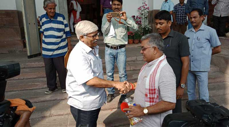 BJP's Dilip Ghosh celebrates Tripura victory, distributes toffees in assembly