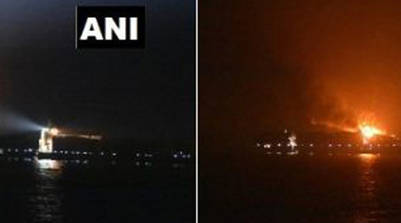 Container ship with Indian crew catches fire