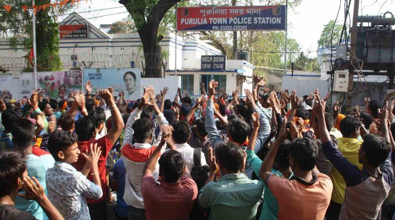 Purulia: Members of Bajrang Dal protest against arrest on Ram Navami
