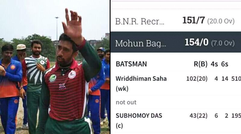 Wriddhiman Saha scores 102 off just 20 balls in JC Mukherjee t20 match