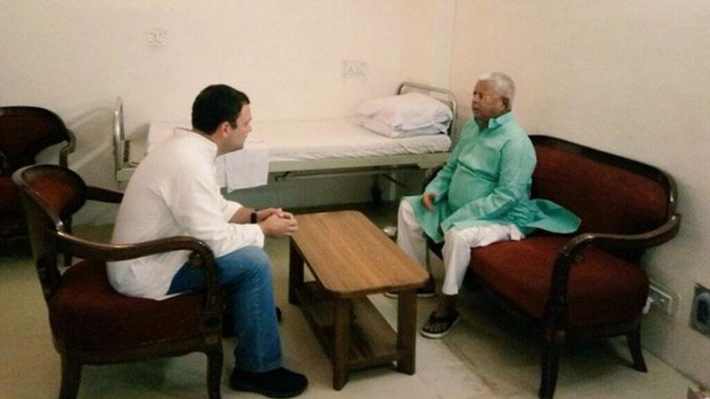 Rahul Gandhi meets Lalu Prasad at Delhi's AIIMS