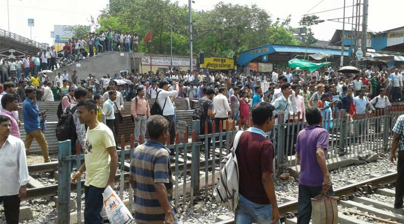 Protest in Sodepur rail station, train services hit