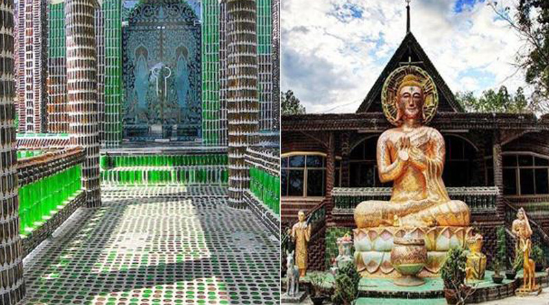 This Buddhist temple is made of a million beer bottles