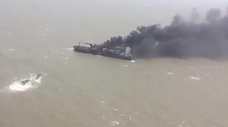 Flames engulf container ship near Haldia port