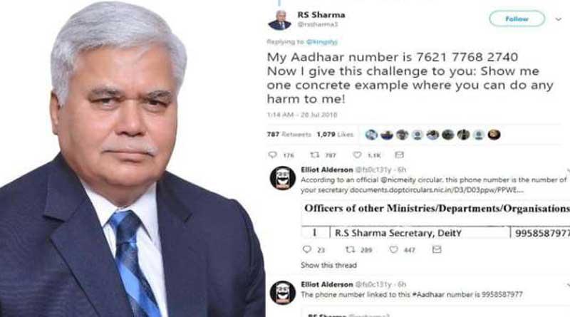 TRAI chairman RS Sharma's Aadhaar Challenge, Leaked His Personal Details