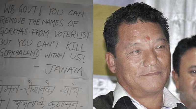 Protest posters in Hills after Bimal Gurung's name removed from voters list