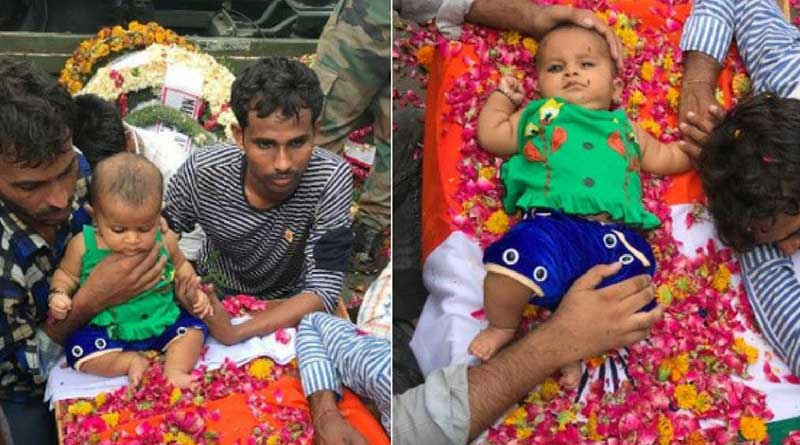 Heartbreaking! Kashmir martyr's 5-month-old daughter sits on his coffin