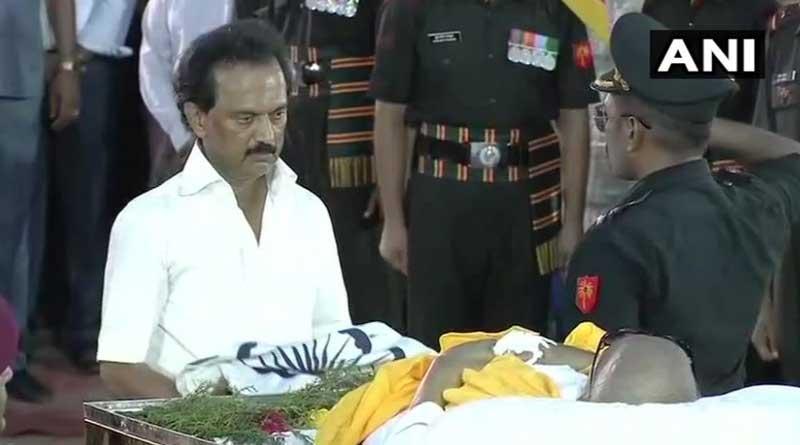 Karunanidhi buried in Marina sea beach