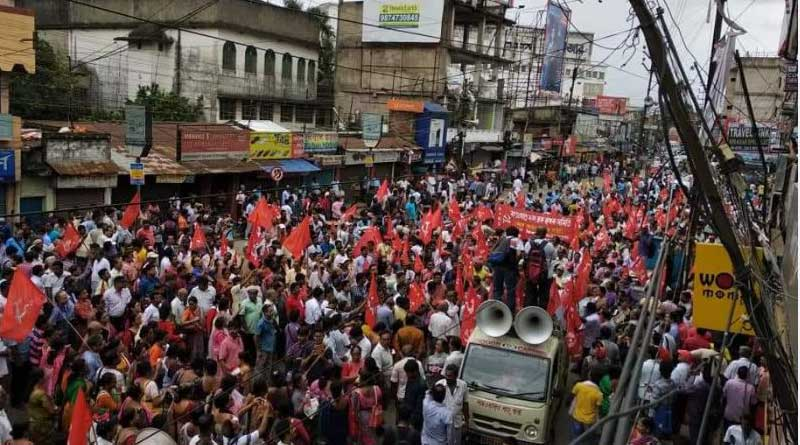 Left parties protested all over West Bengal