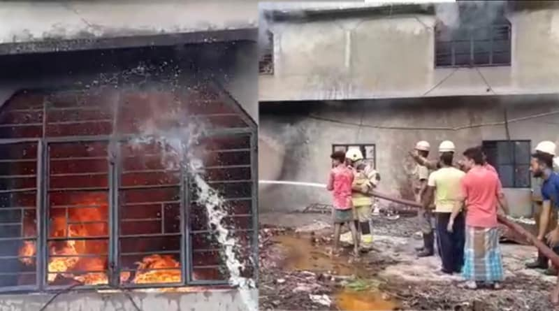 Massive fire  breaks out in a stowage at Rajarhat
