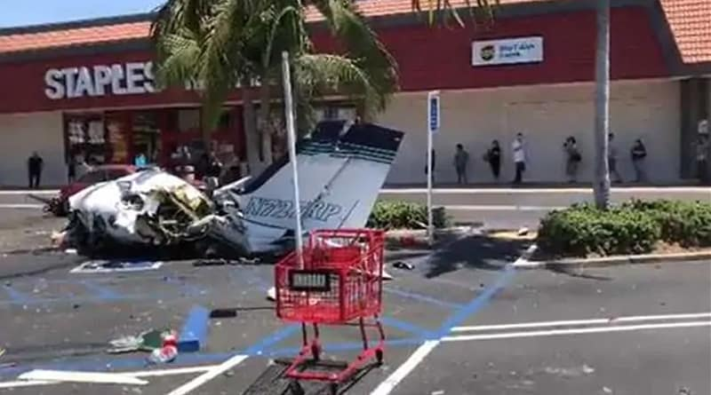 California: Plane breaks down at parking lot of shopping mall, 5 dead