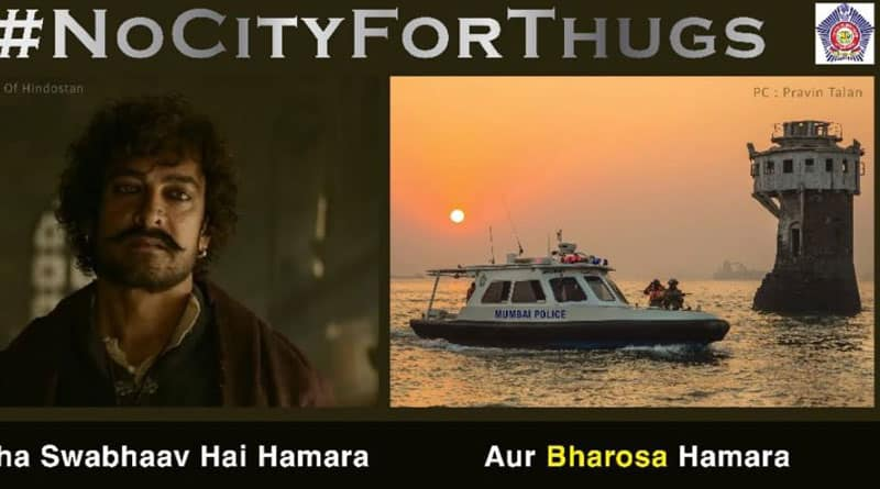 Mumbai Police uses Thugs of Hindostan poster in Publicity