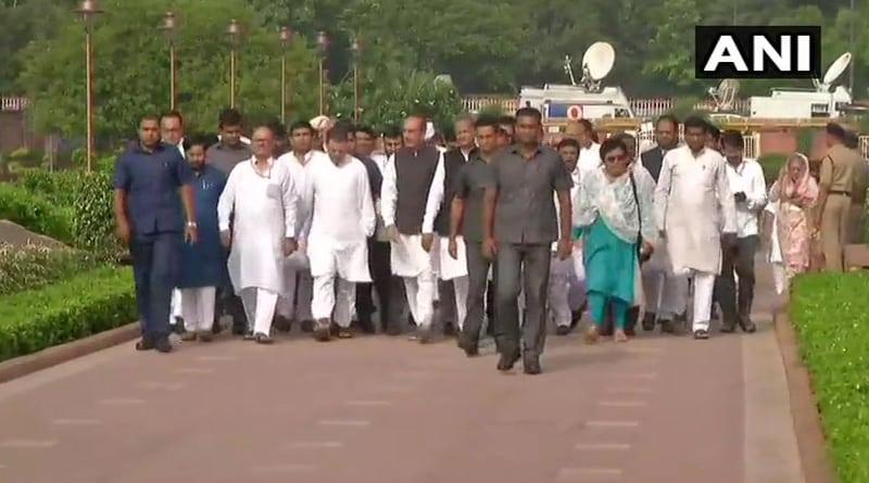 Rahul Gandhi arrives at Rajghat, joins protest against fuel price hike