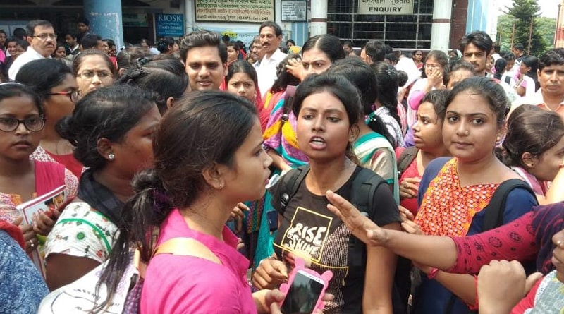 Degree course students showing agitation against exam date change