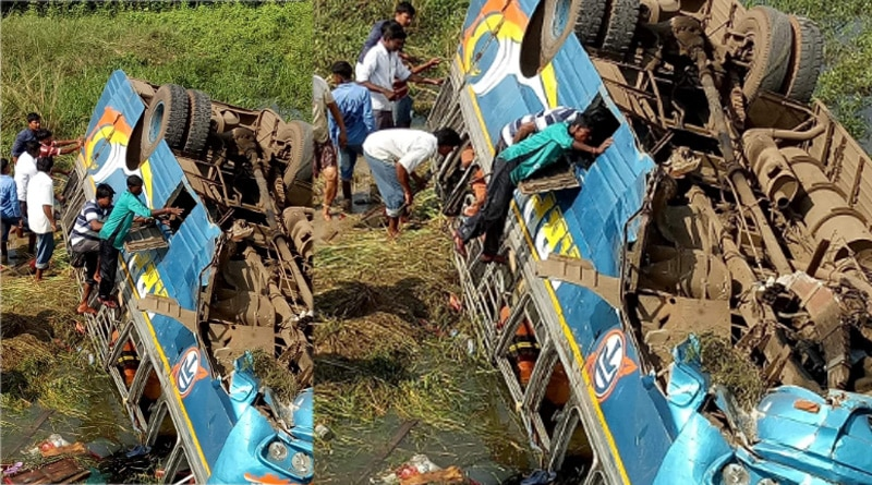 Hooghly: 20 injured after bus falls down into canal