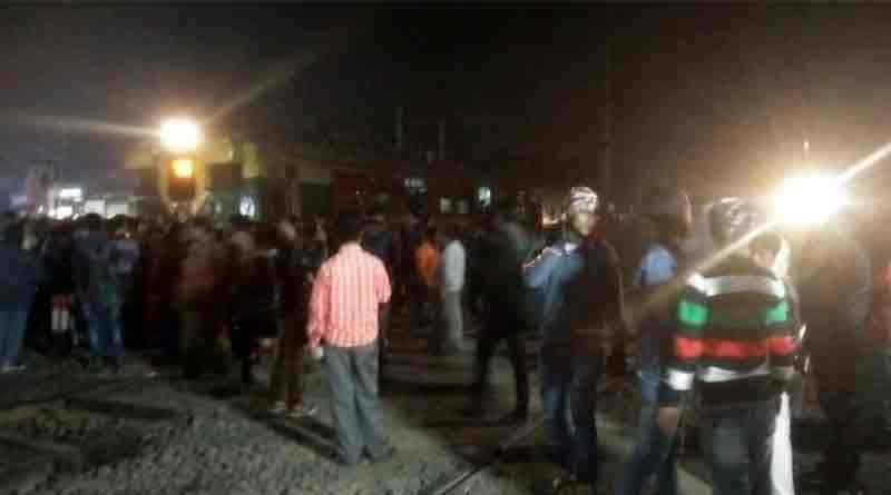 Train blocked in Shyamnagar Station