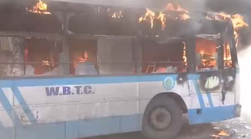 State bus on fire in kolkata
