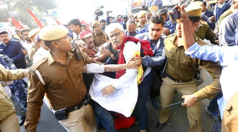 CPM leader Sujan Chakraborty detained at Jadavpur