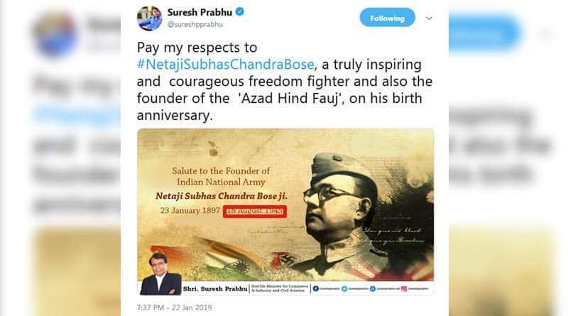 Suresh Prabhu disrespect Netaji on Birth Day