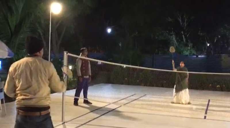 Mamata Banerjee plays badminton