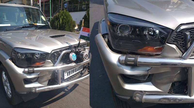 Jyotipriyo Mallick's car collided with a auto in Saltlake