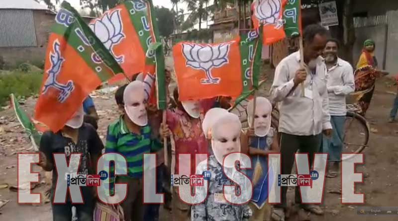 School students are campagining for BJP in Coch Behar.