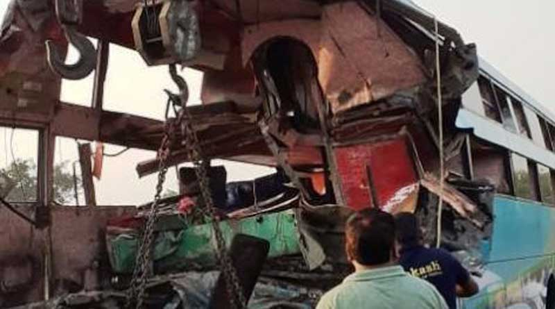 8 dead, 24 injured as bus crashes into truck in Greater Noida.