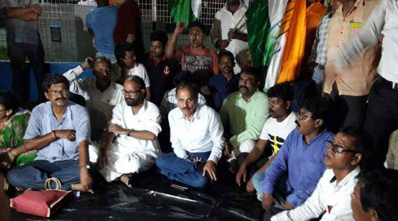 Congress MP and former state president Adhir Chowdhury in Dharna