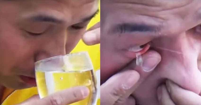 Kung Fu Master inhales water from nose, shoots out of Eye