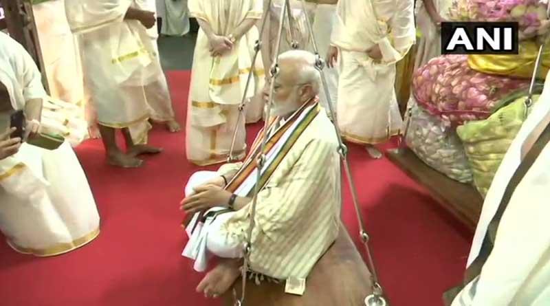 PM Narendra Modi offers prayers at Guruvayur temple in Kerala.