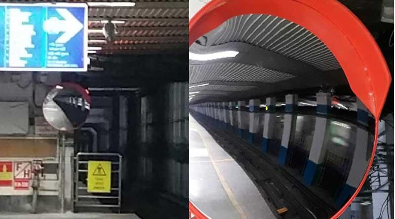 Mirror installed at Park Street Metro Station on Wednesday