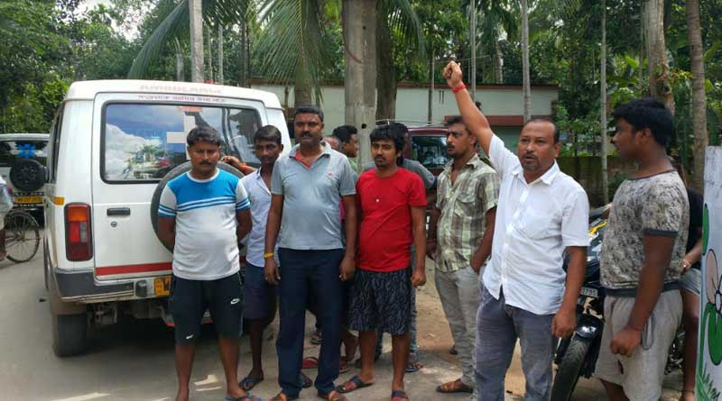 Ambulance drivers stage protest outside Bongaon BJP leader's house