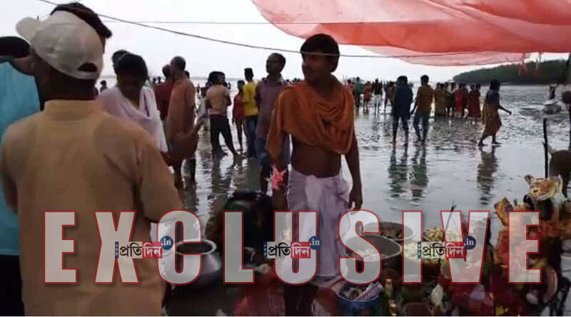 A river island rises for a day in Sundarban area of South 24 Parganas