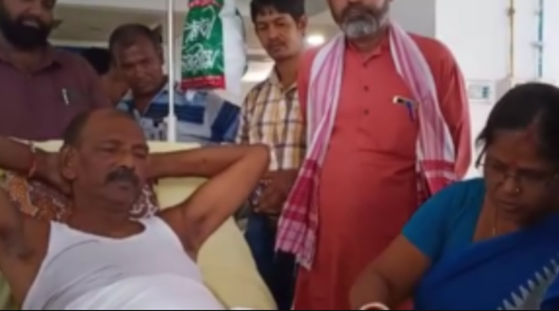 Dudh Kumar Mondal critically injured after a road accident in Sainthia