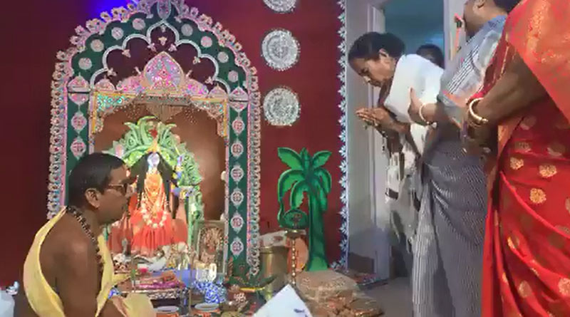 Governor and his wife enters into CM's house at the evening of Kali Puja