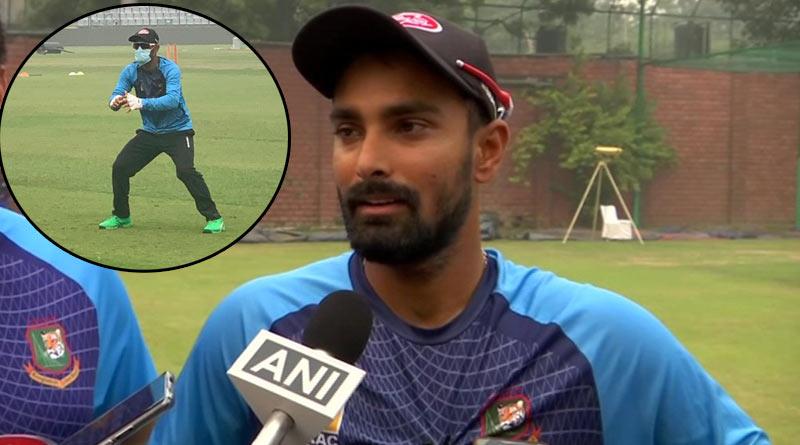 Bangladeshi batsman Liton Das practices wearing a mask in Delhi
