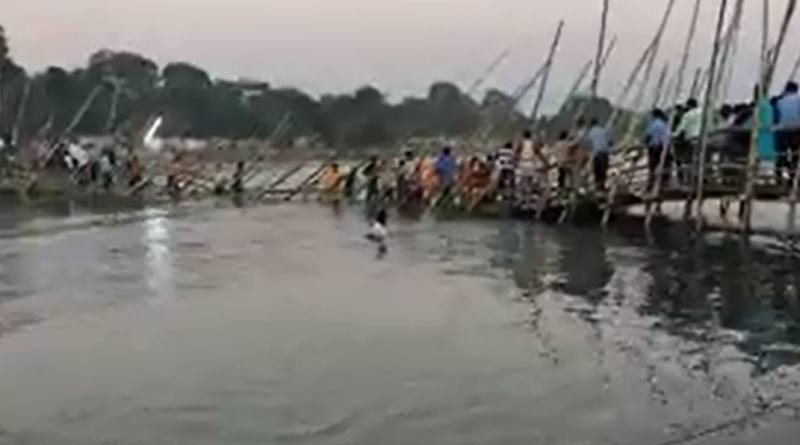 Temporary bridge collapsed on Torsa river during Chhat Puja