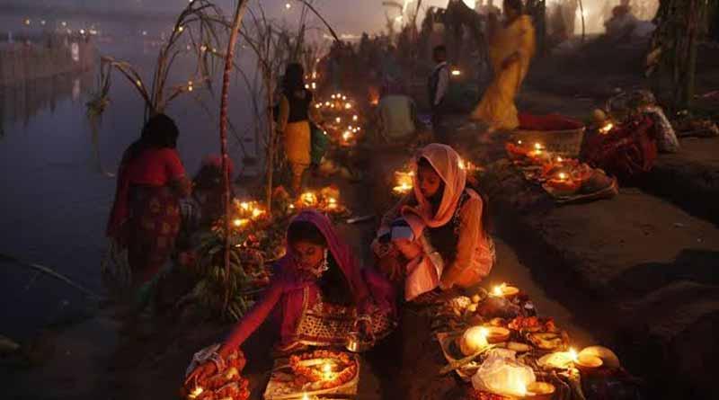 Some woman celebrates Chhath Puja inside Rabindra Sarobar Lake