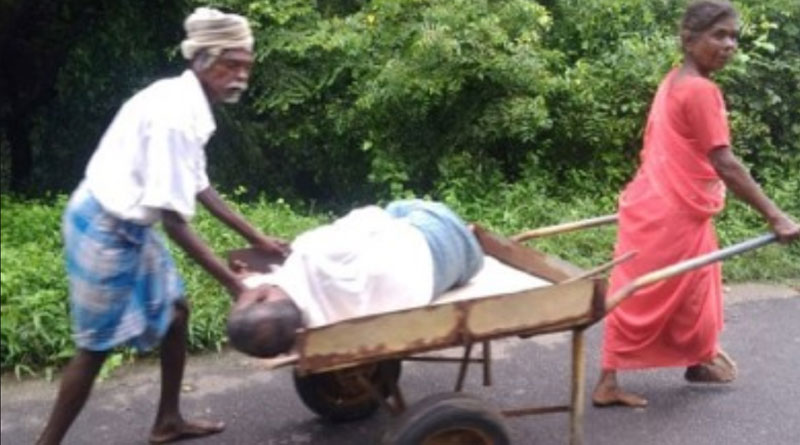 couple carry relative to hospital in push cart in puducherry