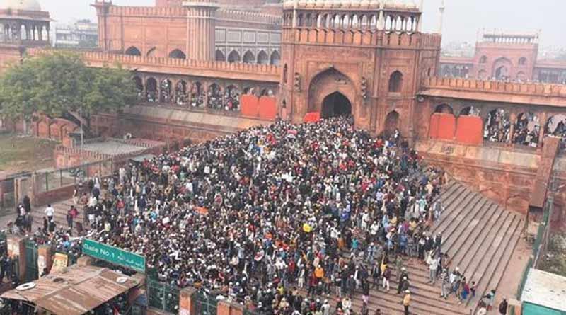 Massive anti CAA protest at Jama Masjid square led by Bhim Army