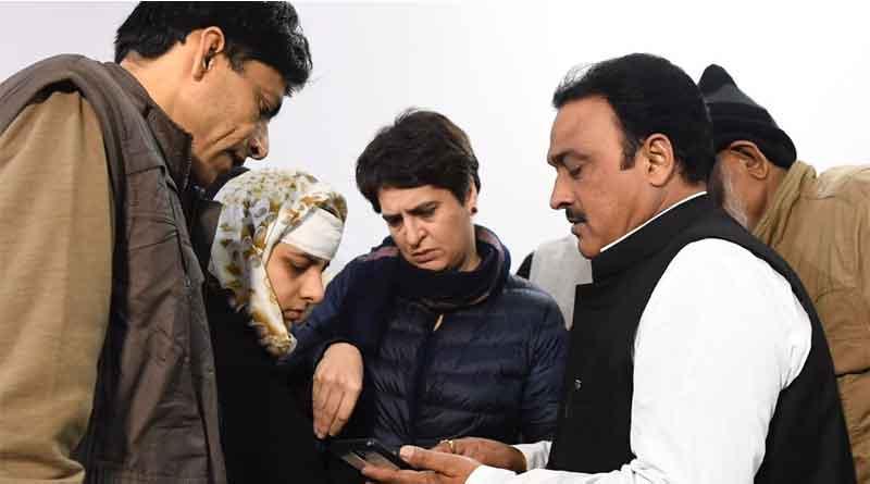Priyanka Gandhi visits Muzaffarnagar victims, condemns police brutality.