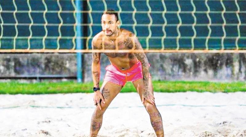 NeiMar Jr. breaks Quarantine, football star seen busy with Foot-Vollyball