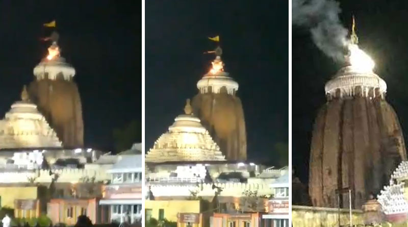 Flag of Puri Jagannath Mandir catches fire in Odisha